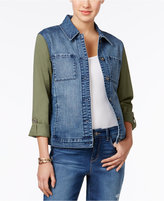 Style&Co. Style & Co Mixed-Media Denim Jacket, Only at Macy's