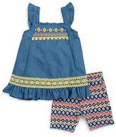 Little Lass Girls 2-6x Little Girls' Ruffled Chambray Dress and Patterned Shorts Set