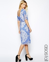 ASOS Tall ASOS TALL Midi Skater Dress In Pretty Lace With Scoop Back - Blue/white