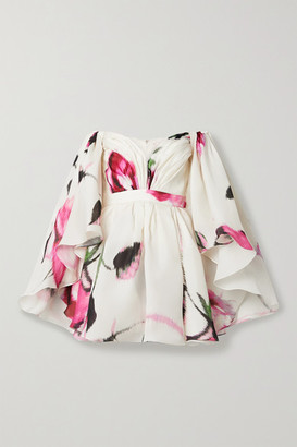 Carolina Herrera Off-the-shoulder Cape-effect Floral-print Silk-organza Mini Dress - Ivory