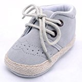 Newborn Infant Baby Girls Boys Crib Soft Sole Anti-slip Sneakers Shoes (0~6 Month, Gray)