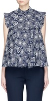 Co Floral embroidered ruffle trim top