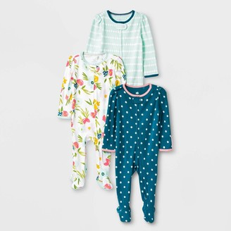 N. Baby Girls' 3pk Floral Fields Zip-Up Sleep N' Play - Cloud IslandTM Mint Green