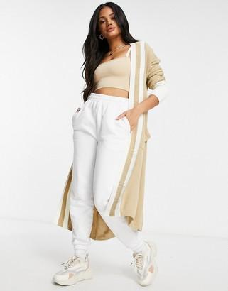Liquorish maxi cardigan with stripes in beige