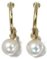 Mikimoto 18k Yellow Gold Pearl Hoop Earrings