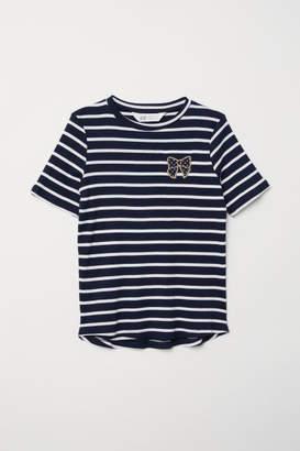H&M Ribbed T-shirt - Blue