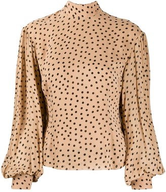 Ganni Polka Dot Bishop-Sleeves Blouse