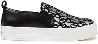 DKNY Printed Faux-suede And Leather Slip-on Sneakers