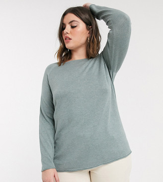 Only Curve light weight jumper in green