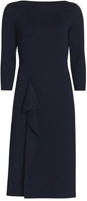 St. John Ruffled Milano-Knit Wool Sheath Dress