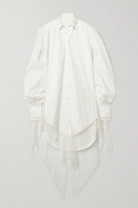 DANIELLE FRANKEL Naomi Lace-trimmed Poplin Shirt Dress - Ivory
