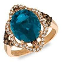 LeVian Le Vian 14K Strawberry Gold, Deep Sea Blue Topaz, Vanilla Diamonds & Chocolate Diamonds Ring
