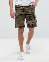 Jack & Jones Intelligence Cargo Shorts In Loose Fit With Camo Print