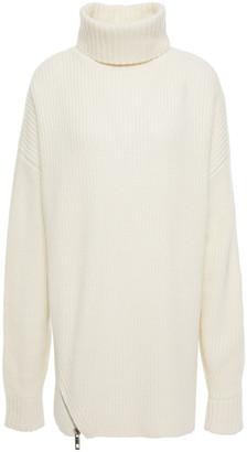 Tibi Zip-detailed Ribbed Cashmere Turtleneck Sweater