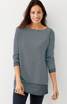 J. Jill Mixed-Stripes Double-Knit Tunic