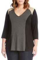Karen Kane Plus Size Women's Faux Suede Trim Colorblock Top