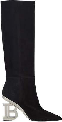 Balmain Nelly Logo Heel Suede Boots