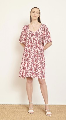 MKT Studio Floral Print Ropari V Neck Dress - medium
