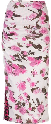 Dvf Diane Von Furstenberg Ruched Waist Floral Print Skirt