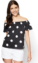 New York & Co. 7th Avenue - Off-The-Shoulder Poplin Shirt - Black - Polka-Dot Print