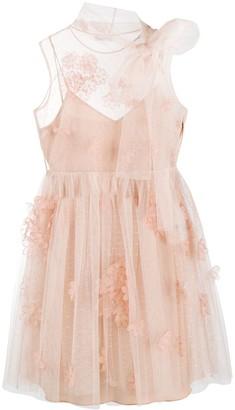RED Valentino Flower Applique Tulle Mini Dress
