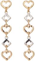 Candela 14K Two-Tone Gold Open Heart & Square Drop Earrings