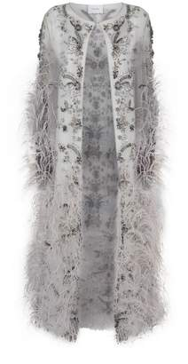 Marchesa Feather and Crystal-Embellished Tulle Jacket