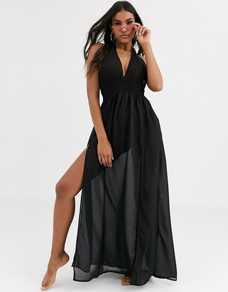 Lipsy sheer chiffon beach maxi dress