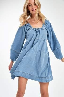 Free People Womens Light Wash Denim Mini Dress - Blue