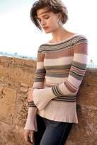 Next Womens Blush Stripe Crinkle Sweater - Pink