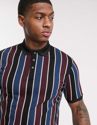 Burton Menswear polo with vertical stripe in burgundy-Red