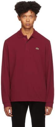 Lacoste Burgundy Classic Long Sleeve Polo