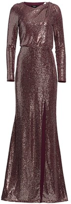 Badgley Mischka Asymmetrical Back Cut-Out Sequin Gown