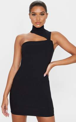PrettyLittleThing Black High Neck Sleeveless Cut Out Bodycon Dress