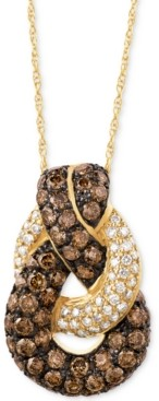 "LeVian Le Vian Chocolatier Diamond Looped 18"" Pendant Necklace (1-1/2 ct. t.w.) in 14k Gold"