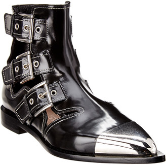 Alexander McQueen Cage Leather Ankle Boot