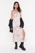 Nasty Gal Womens Satin Tie Dye Knot Front Midi Dress - Pink - L, Pink