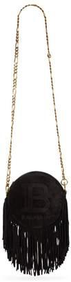 Balmain Disco 18 Fringed Suede Shoulder Bag