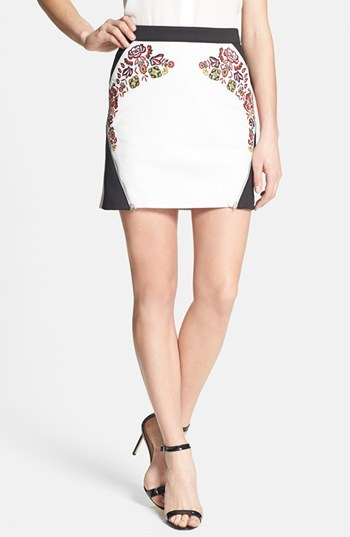 Rebecca Minkoff 'Malbec' Embroidered Leather Skirt