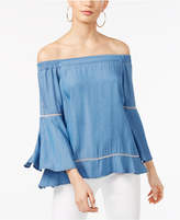 INC International Concepts Petite Off-The-Shoulder Denim Top, Created for Macy's