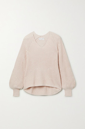 Apiece Apart Sequoia Ribbed Cotton And Cashmere-blend Sweater - Blush