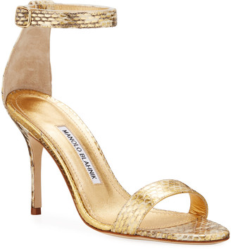 Manolo Blahnik Chaos 90mm Snake Ankle-Strap Sandals
