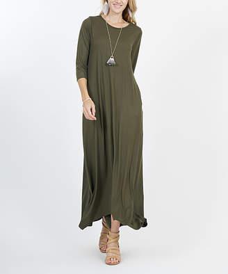 42pops 42POPS Women's Maxi Dresses OLIVE - Olive Crewneck Three-Quarter Sleeve Shark-Bite Pocket Maxi Dress - Women