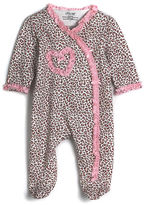 Little Me Newborn Girls 0-9 Months Cotton Leopard Print Footie Coveralls