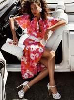 Michael Kors Floral Crepe De Chine Wrap Skirt