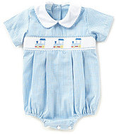 Edgehill Collection Baby Boys 3-9 Months Smocked Train Bubble Shortall