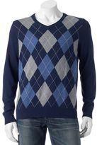 Croft & Barrow Men's Classic-Fit Argyle 12gg V-Neck Sweater