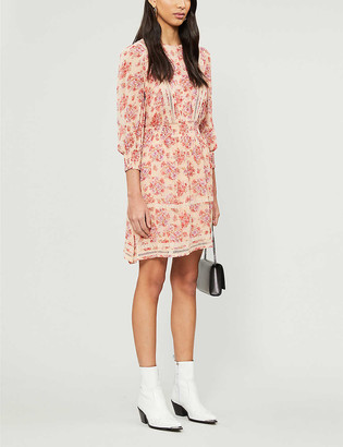 The Kooples Floral shirred waist chiffon mini dress