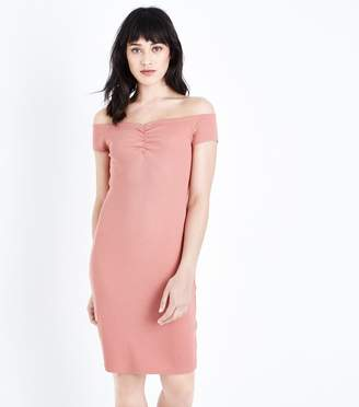 New Look Ruched Bardot Bodycon Dress