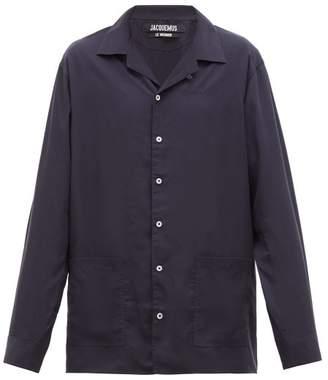 Jacquemus Etienne Resort-collar Lyocell Shirt - Mens - Navy